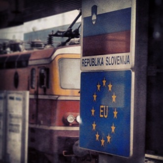Train into Slovenia