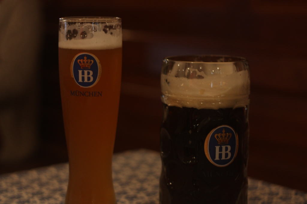 beer-stein-and-half-litre-at-Hofbrauhaus-Munich-Germany