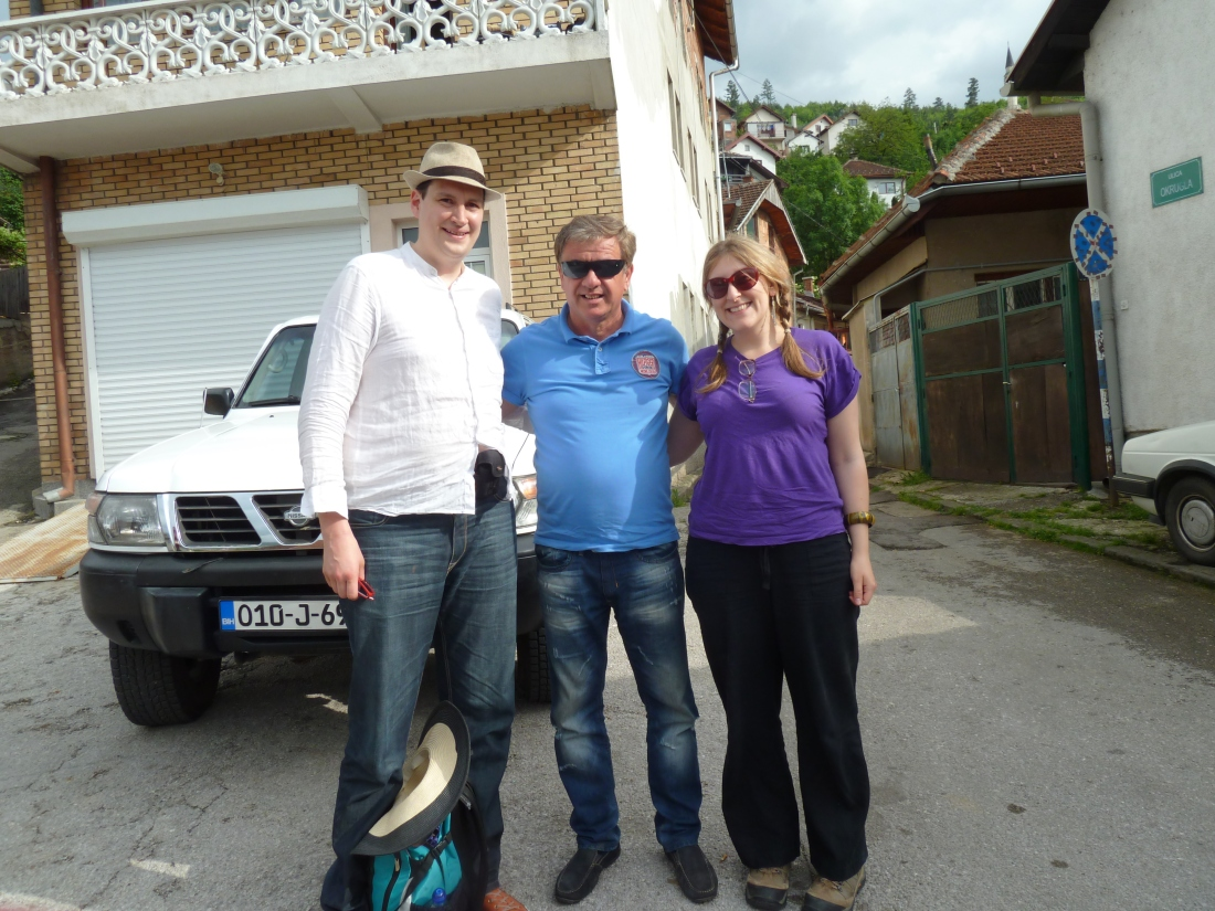 Peter, me, and our intrepid taxi driver Samir