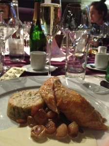 Guineafowl, accompanied by a nice glass of prosecco prior to the shattering incident